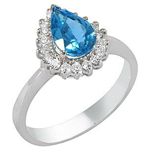 0.27ct. Diamond 18K Solid Gold Halo Blue Topaz Ring