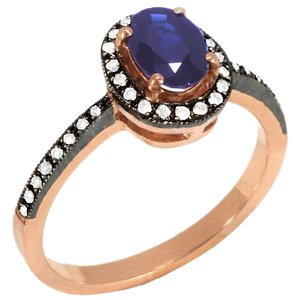 0.12ct. Diamond 0.80ct. Sapphire 8K Solid Gold Halo Ring