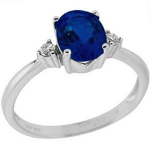 0.04ct. Diamond 1.40ct. Sapphire 14K Solid Gold Ring