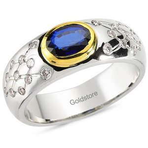 0.37ct. Diamond 0.87ct. Sapphire 18K Solid Gold Ring