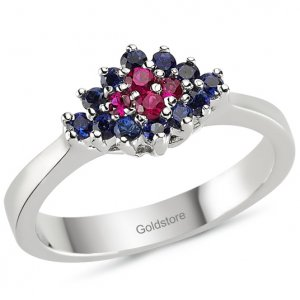 0.36ct. Sapphire 0.13ct. Ruby 18K Solid Gold Modern Design Ring