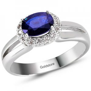 0.2ct. Diamond 1.16ct. Sapphire 18K Solid Gold Ring