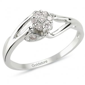 0.16ct. Diamond 14K Solid Gold Solitaire Like Ring