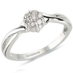 0.22ct. Diamond 14K Solid Gold Solitaire Like Ring