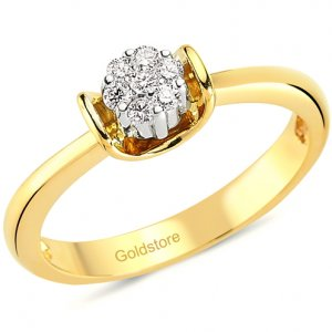 0.13ct. Diamond 14K Solid Gold Solitaire Like Ring