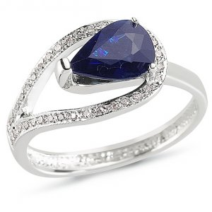 0.11ct. Diamond 1.40ct. Sapphire 14K Solid Gold Ring