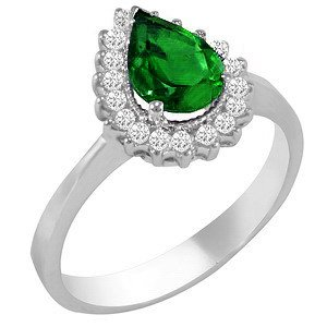 0.28ct. Diamond 1.10ct. Emerald 18K Solid Gold Halo Ring