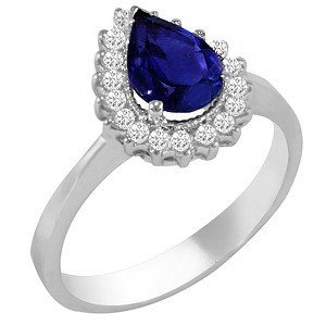0.28ct. Diamond 1.05ct. Sapphire 18K Solid Gold Halo Ring
