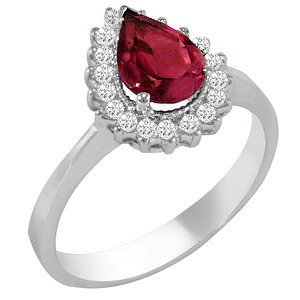 0.28ct. Diamond 1.03ct. Ruby 18K Solid Gold Halo Ring