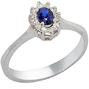 0.07ct. Diamond 0.25ct. Sapphire 18K Solid Gold Halo Ring