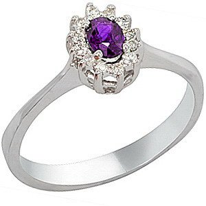 0.07ct. Diamond 18K Solid Gold Halo Amethyst Ring