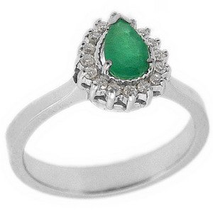 0.12ct. Diamond 0.35ct. Emerald 18K Solid Gold Halo Ring