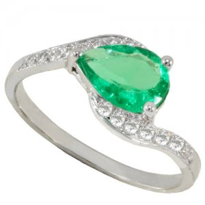 0.12ct. Diamond 0.74ct. Emerald 18K Solid Gold Modern Design Ring