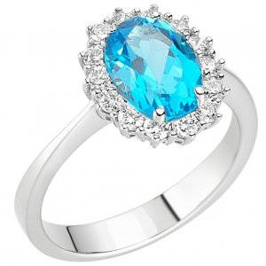 0.15ct. Diamond 18K Solid Gold Halo Blue Topaz Ring