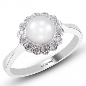 0.14ct. Diamond 18K Solid Gold Modern Design Pearl Ring
