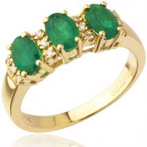 0.06ct. Diamond 1.16ct. Emerald 18K Solid Gold Modern Design Ring