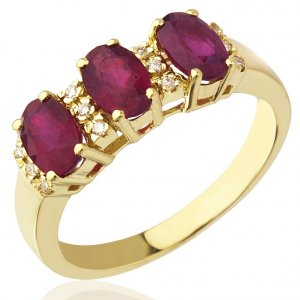 0.06ct. Diamond 2.04ct. Ruby 18K Solid Gold Modern Design Ring