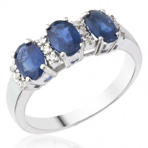 0.06ct. Diamond 1.50ct. Sapphire 18K Solid Gold Modern Design Ring