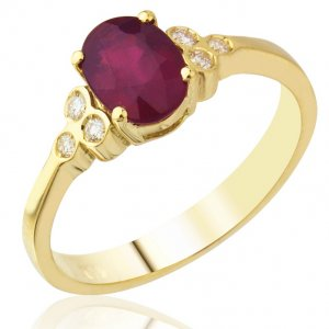 0.1ct. Diamond 1.91ct. Ruby 18K Solid Gold Modern Design Ring
