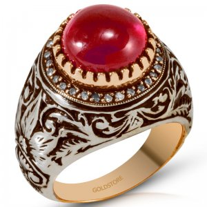 0.21ct. Diamond 6.44ct. Ruby 8K Solid Gold Modern Design Ring
