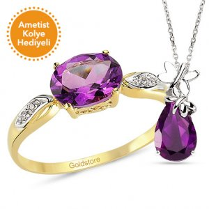 0.02ct. Diamond 14K Solid Gold Modern Design Amethyst Ring