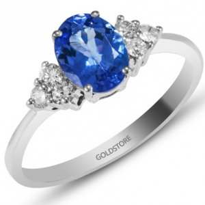 0.21ct. Diamond 18K Solid Gold Modern Design Tanzanite Ring