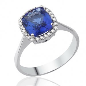 0.14ct. Diamond 18K Solid Gold Modern Design Tanzanite Ring