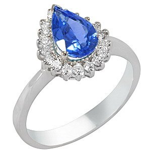 0.25ct. Diamond 18K Solid Gold Halo Tanzanite Ring