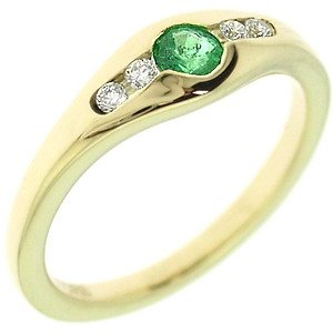 0.07ct. Diamond 0.18ct. Emerald 18K Solid Gold Modern Design Ring