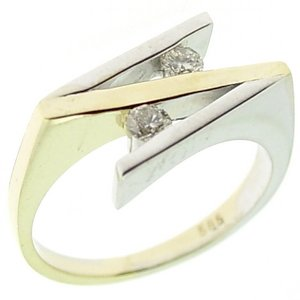 0.27ct. Diamond 14K Solid Gold Modern Design Ring