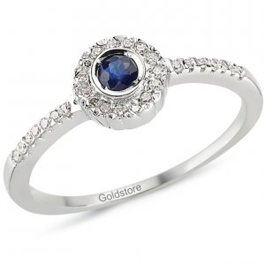 0.11ct. Diamond 0.12ct. Sapphire 18K Solid Gold Modern Design Ring