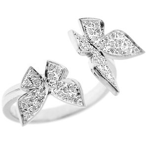 0.15ct. Diamond 18K Solid Gold Modern Design Butterfly Ring