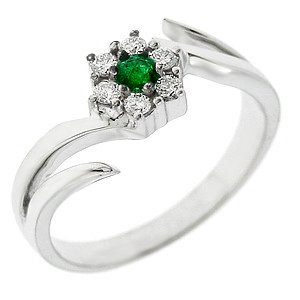 0.16ct. Diamond 0.13ct. Emerald 18K Solid Gold Modern Design Ring