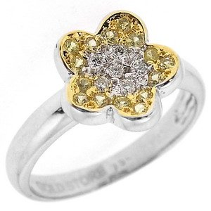0.09ct. Diamond 0.26ct. Sapphire 18K Solid Gold Modern Design Flower Ring