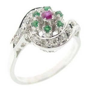 0.21ct. Diamond 0.08ct. Ruby 0.10ct. Emerald 18K Solid Gold Modern Design Ring