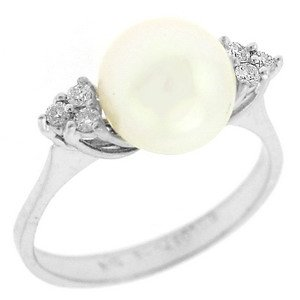0.1ct. Diamond 18K Solid Gold Pearl Ring