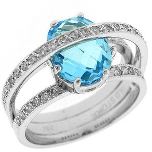 0.43ct. Diamond 18K Solid Gold Modern Design Blue Topaz Ring