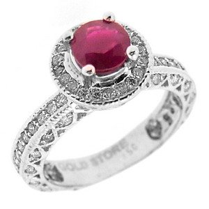 0.63ct. Diamond 0.84ct. Ruby 18K Solid Gold Modern Design Ring