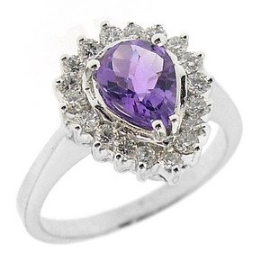 0.53ct. Diamond 18K Solid Gold Modern Design Amethyst Ring