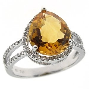 0.26ct. Diamond 18K Solid Gold Modern Design Citrine Ring