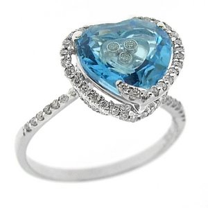 0.38ct. Diamond 18K Solid Gold Modern Design Heart Blue Topaz Ring