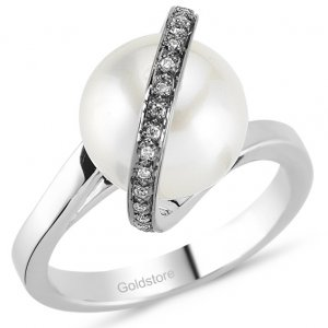 0.05ct. Diamond 18K Solid Gold Pearl Ring