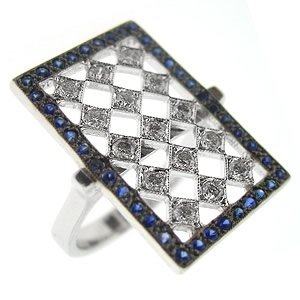 0.5ct. Diamond 0.60ct. Sapphire 18K Solid Gold Ring