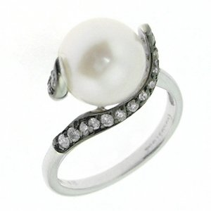 0.43ct. Diamond 18K Solid Gold Pearl Ring