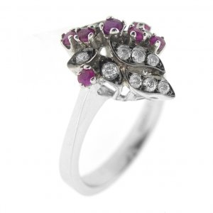 0.29ct. Diamond 0.38ct. Ruby 18K Solid Gold Modern Design Ring