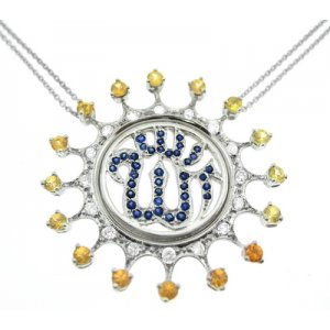 0.5ct. Diamond 1.86ct. Sapphire 18K Solid Gold Necklace