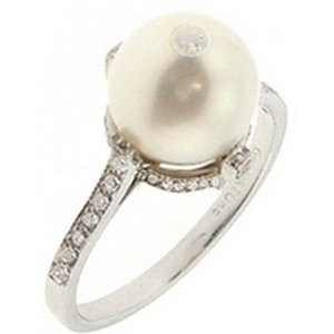0.31ct. Diamond 18K Solid Gold Pearl Ring