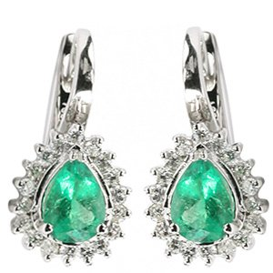 0.96ct. Diamond 2.24ct. Emerald 18K Solid Gold Modern Design Earring