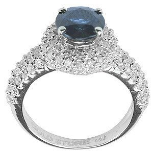 0.84ct. Diamond 0.80ct. Sapphire 18K Solid Gold Modern Design Ring