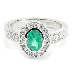 0.37ct. Diamond 0.83ct. Emerald 18K Solid Gold Modern Design Ring